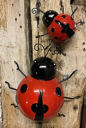 Set of Two Wall Hanging Ladybirds