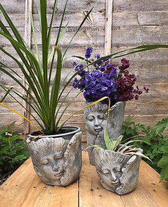 Set Of Three Quirky Face Pots