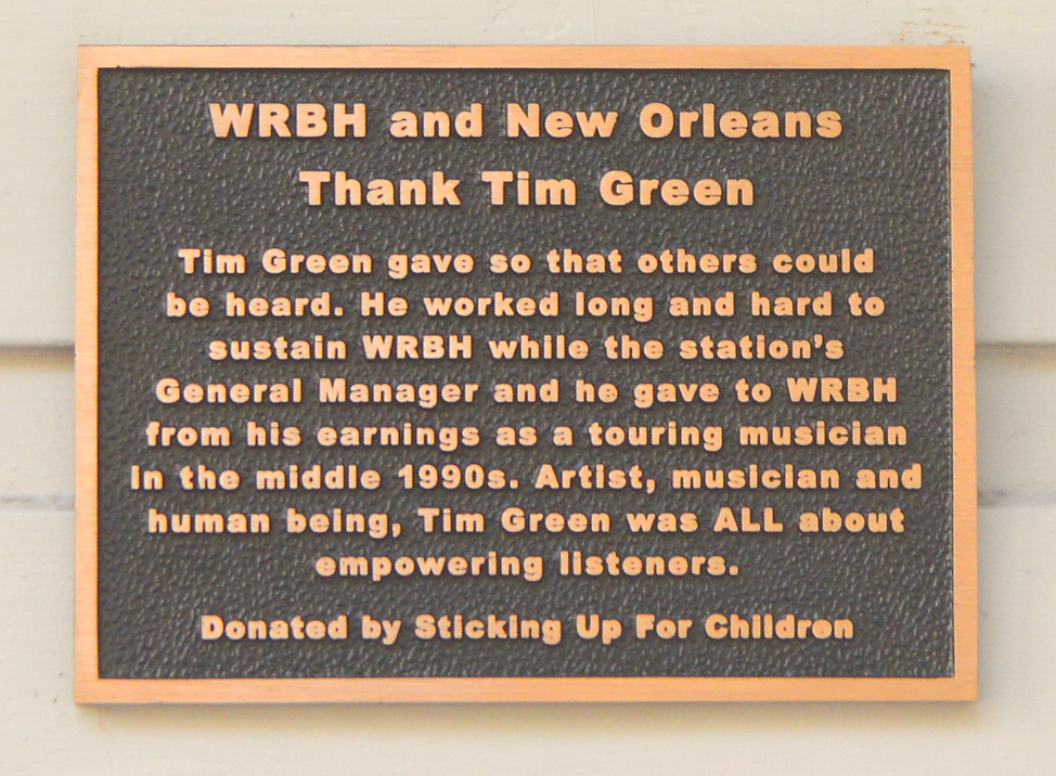 WRBH plaque naming its buidling for Tim