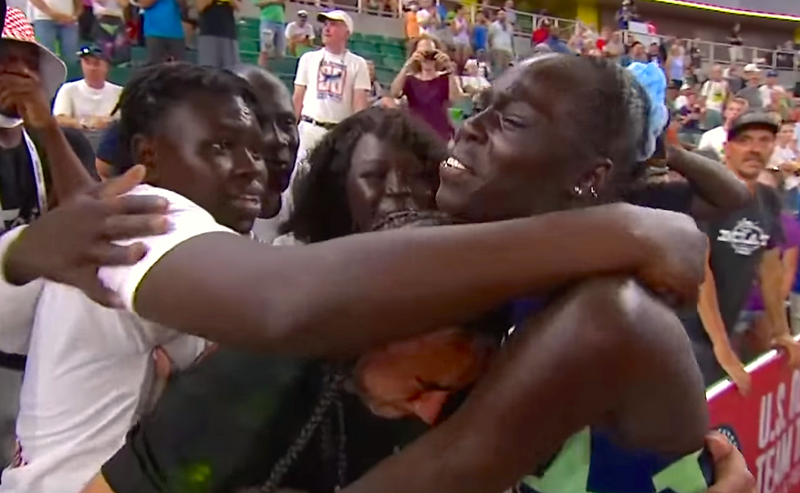 Athing, family, support, hug after 800 Meters Oly Trials Records, June 27, 2021--_Wa_ big-