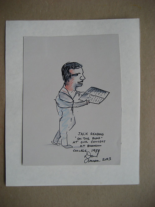 Jack Kerouac reading On The Road at Brooklyn College, 1958, David Amram drawing
