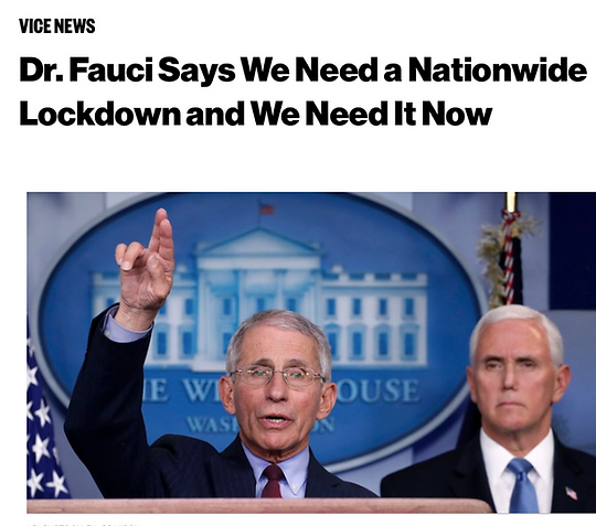 Fauci Nationwide Lockdown with Pence the