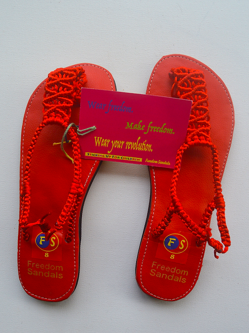 The Dance model, Red on Red, with strap, size 8