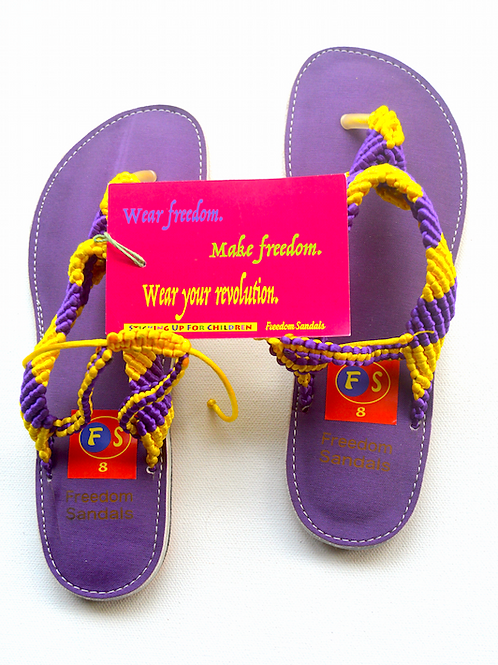 The Dance model, Purple & Yellow, with strap, size 8