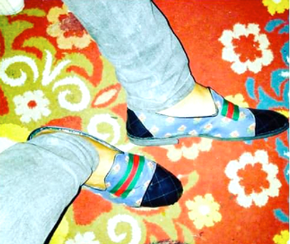 Louis O azure-blue background slip-ons a