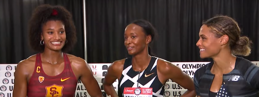Anna, Dalilah, Sydney in Interview Area--smiling--more of why we love Track & Field.png