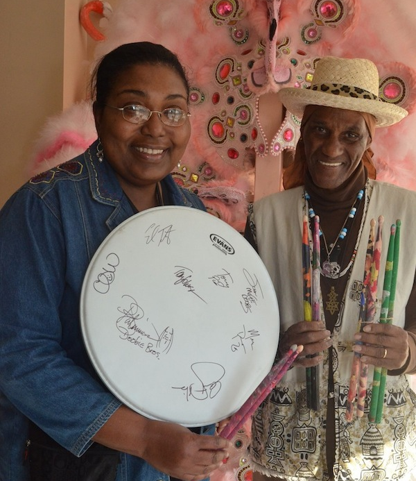Maryse and Cyril with drumhead and FEPE sticks 3 28 2015.png