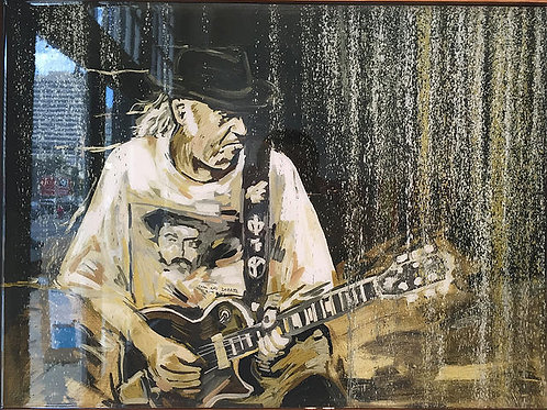 'Neil in the Rain', John Bukaty's painting of Neil Young at 2016 JazzFest