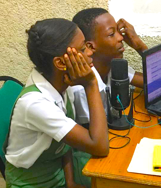 Students participating in recording for