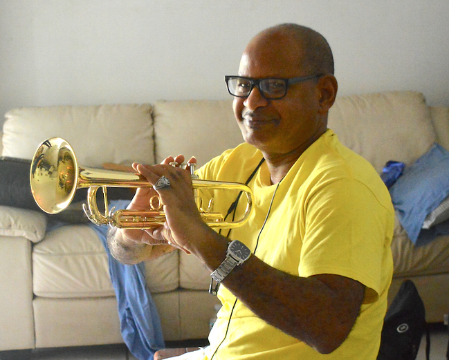 Jean-Hervé Paul with trumpet from Eddie