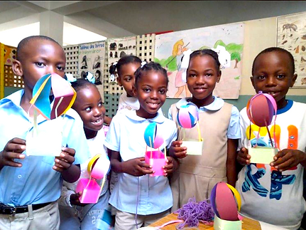 EFE students, six, with their designs, O