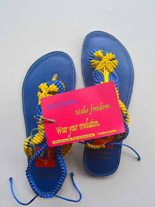 The Dance model, Blue & Yellow on Blue, with strap, size 7