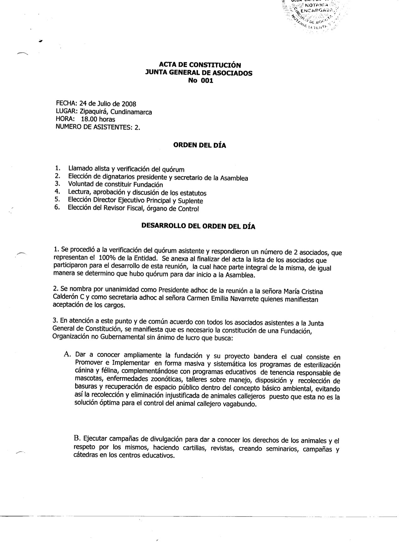 ACTA DE CONSTITUCION JUNTA DE ASOCIADOS N. 001-2 1