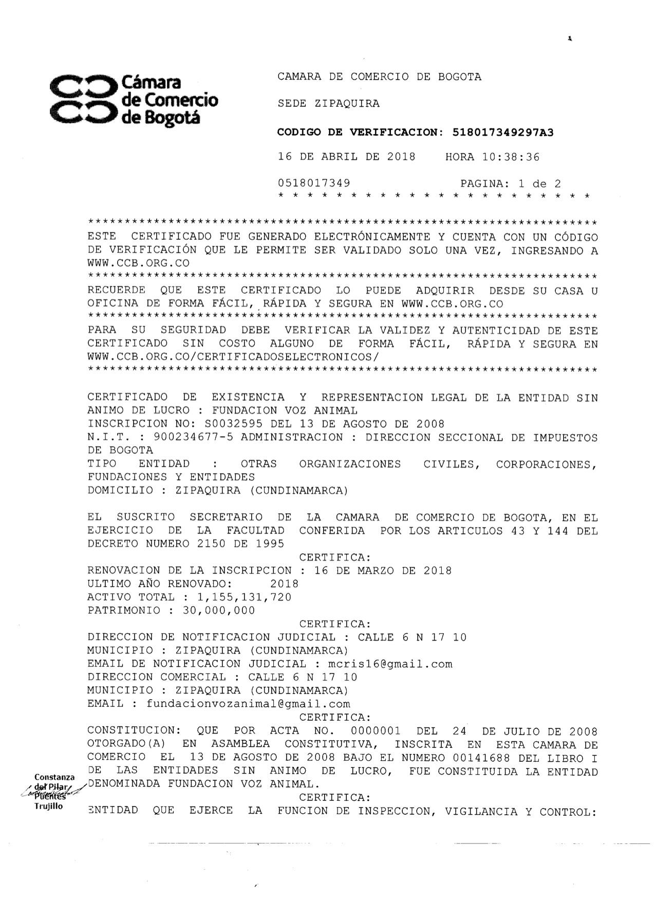 Certificado Existencia y R.L 1