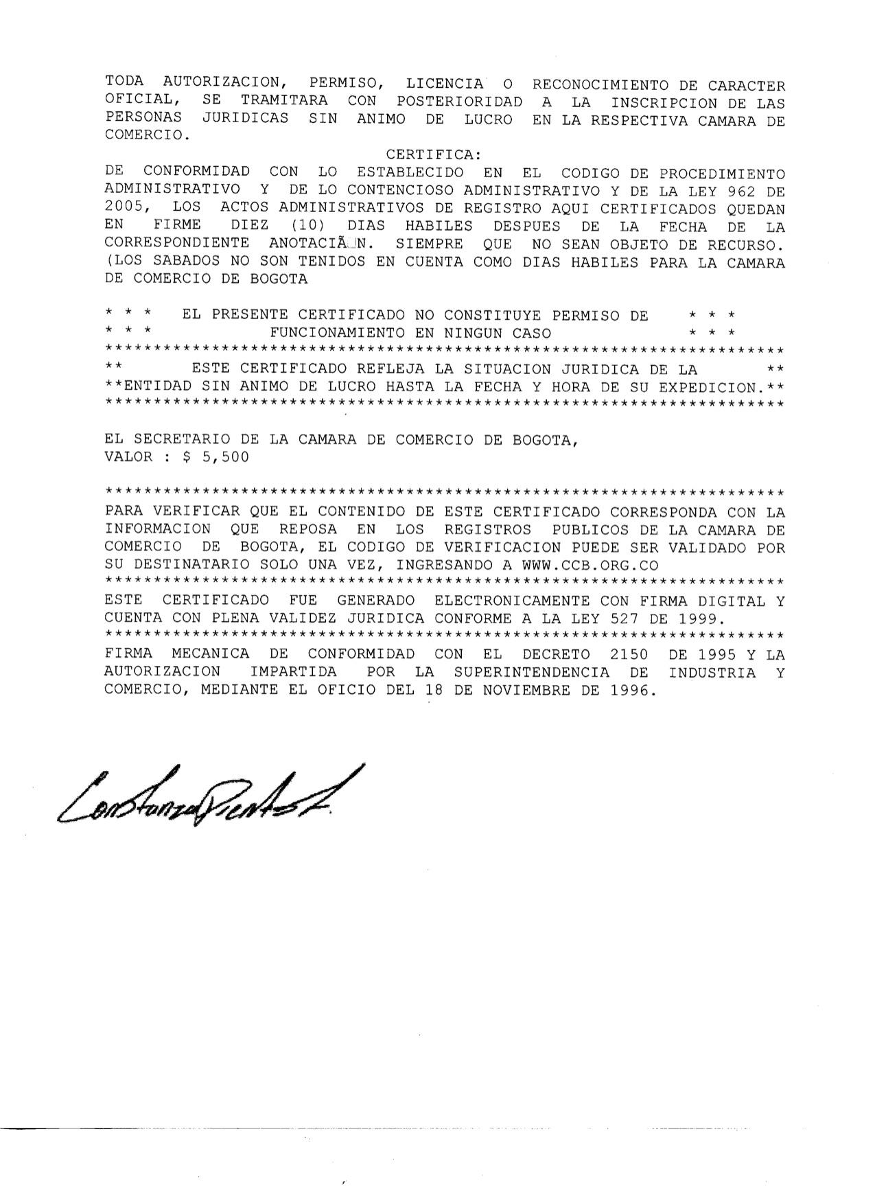 Certificado Existencia y R.L 4