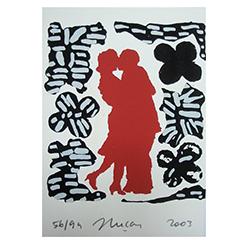 "Sérigraphie ""Le baiser"""