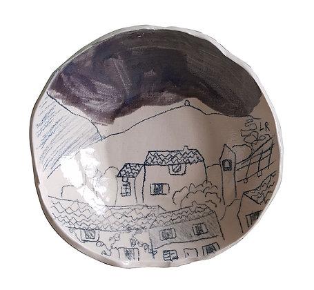Lot de 2 assiettes avec dessin de village au ciel noir