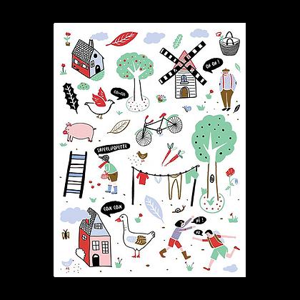 """Carte postale """"Un village à la campagne"""""""