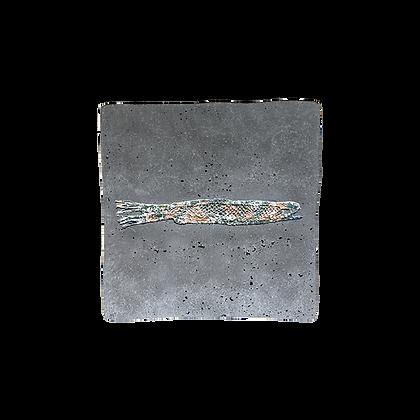 Fossile carré avec empreinte dentelle bicolore