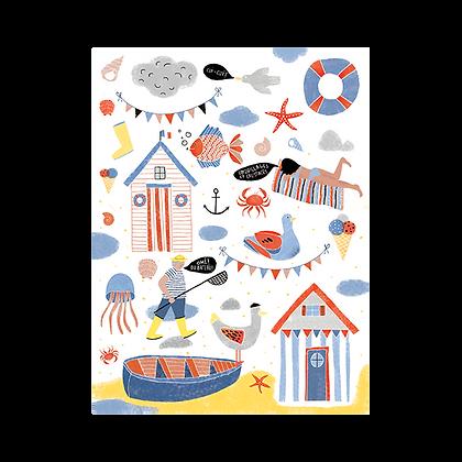 """Carte postale """"Un village à la mer"""""""