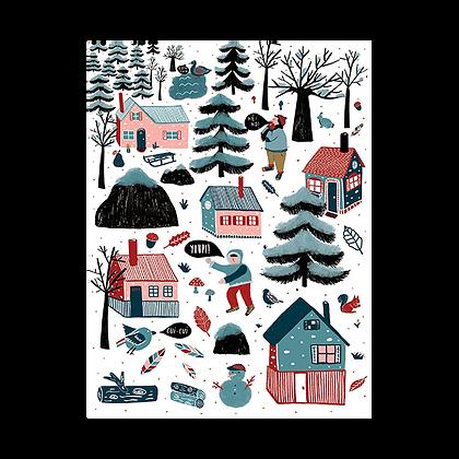 """Carte postale """"Un village à la montagne"""""""