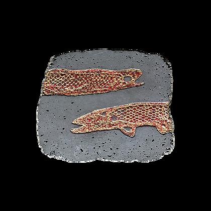 Fossile béton carré avec poisson rouge