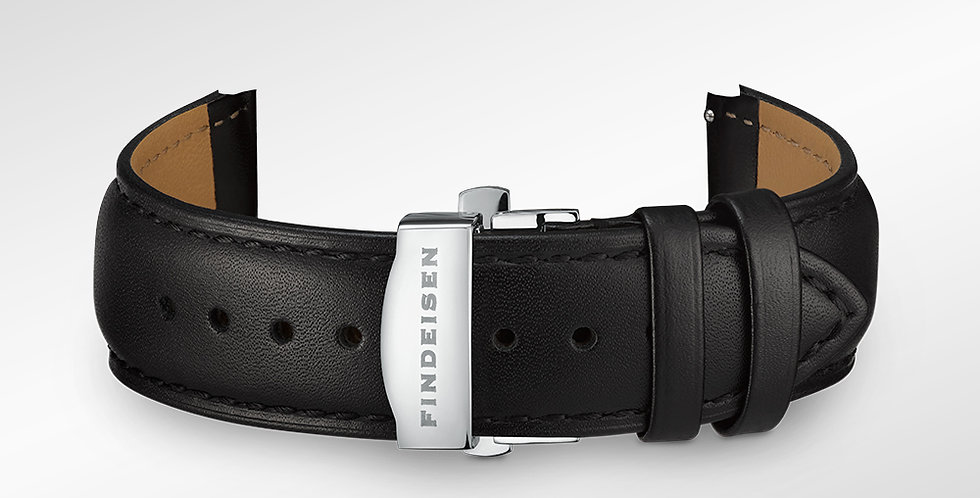 Leather strap 22 mm smooth leather black