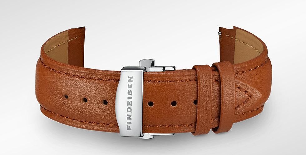 Leather bracelet 22 mm smooth brown leather