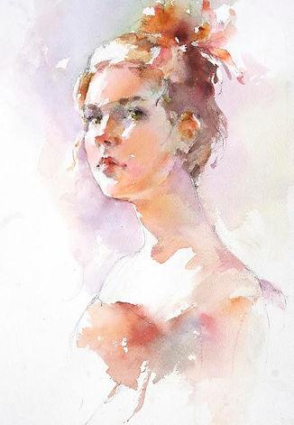 """Janet Rogers Watercolor Portrait, """"Hannah"""""""