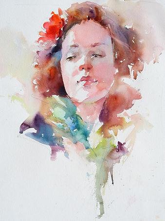 "Janet Rogers Watercolor Portrait, ""Jenna"""