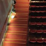 פסי אלומיניום בגוון פליז על מדרגות באולם. בראש גרם המדרגות - משטח אלומיניום בגוון זהה.   היכל התרבות אשדוד