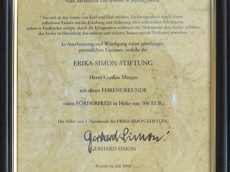 """Erinnerung an den """"Erika-Simon-Stiftung""""-Förderpreis"""