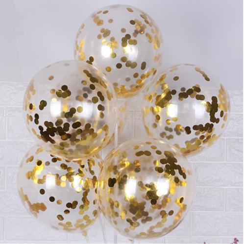 Ballons confettis doré x5