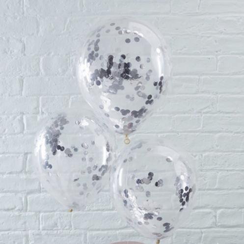 Ballons confettis argent x 5