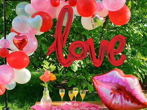 """Guirlande de ballons -          Saint-Valentin Ballon """"Love"""" OFFERT"""