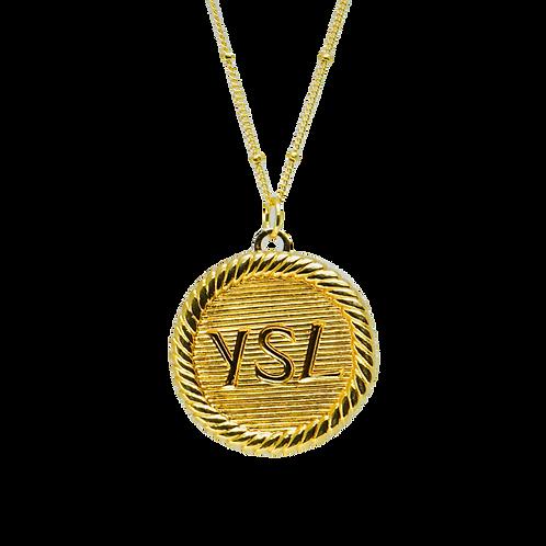LARGE BRUSHED GOLD YSL VINTAGE BUTTON NECKLACE