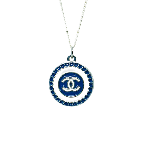 NAVY BLUE & SILVER CHANEL VINTAGE BUTTON NECKLACE