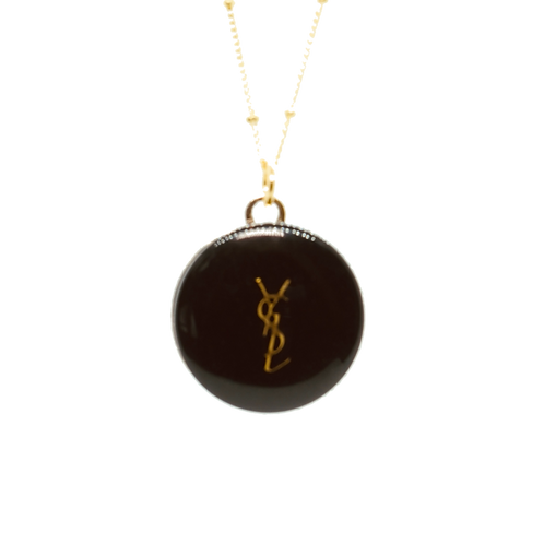LARGE YSL GOLD BUTTON NECKLACE