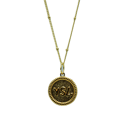 MINI BRUSHED GOLD YSL VINTAGE BUTTON NECKLACE