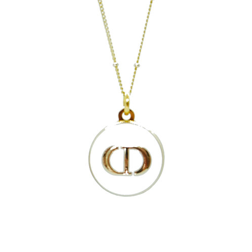 GOLD & WHITE CD VINTAGE BUTTON NECKLACE