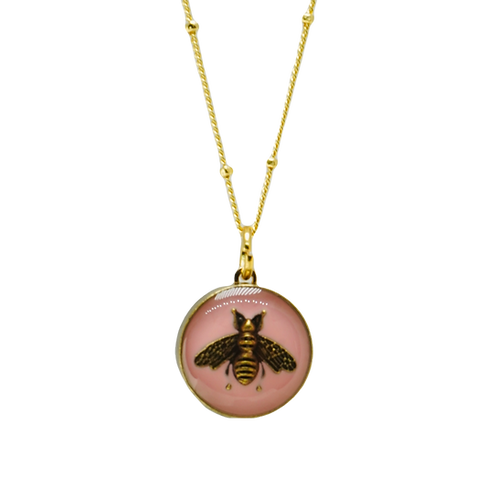 PINK BEE VINTAGE BUTTON NECKLACE
