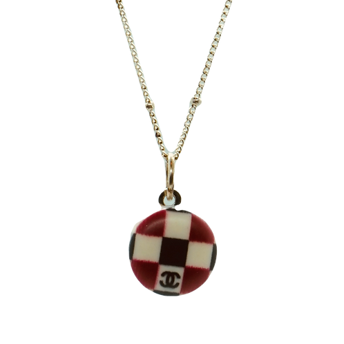 MINI CHECKERED VINTAGE BUTTON NECKLACE