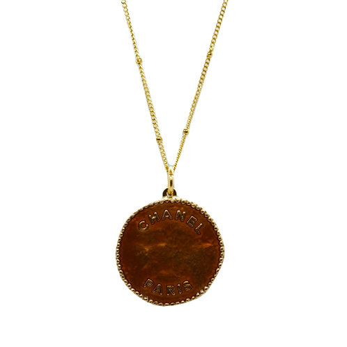 COPPER CHANEL BUTTON VINTAGE NECKLACE