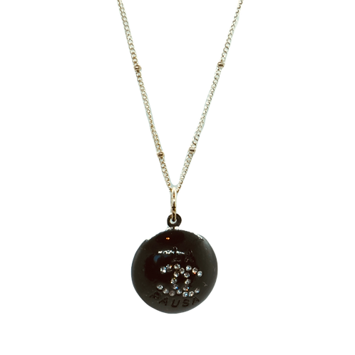 BLACK WITH RHINESTONES BUTTON NECKLACE