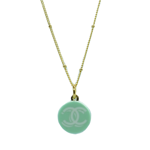 SEA GREEN BUTTON NECKLACE