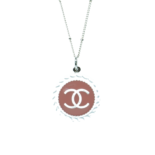 BLUSH & WHITE ROPE TRIM BUTTON NECKLACE