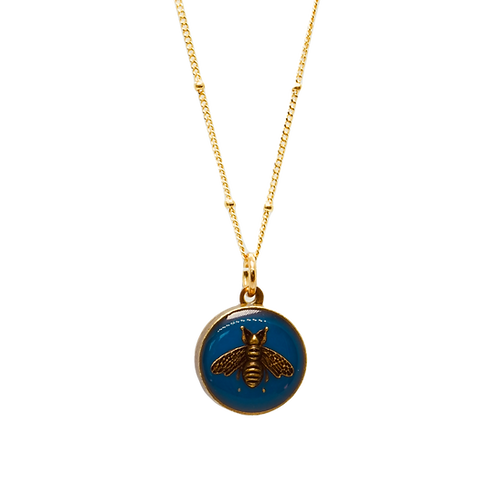 NAVY & BRASS GOLD BEE VINTAGE BUTTON NECKLACE