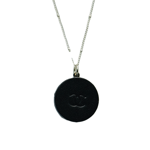 BLACK LEATHER VINTAGE CHANEL BUTTON NECKLACE