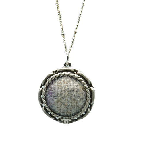 WOOL TWEED VINTAGE BUTTON NECKLACE
