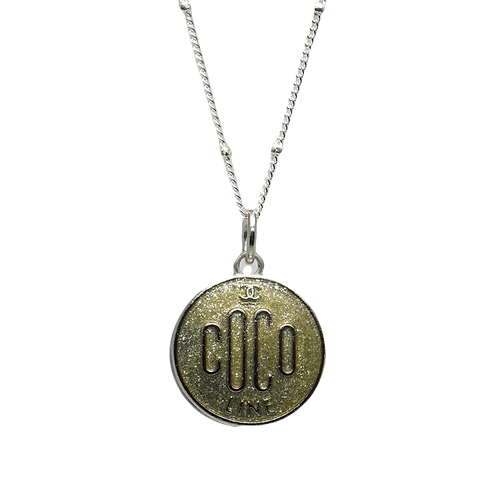 COCO SHIMMER VINTAGE BUTTON NECKLACE